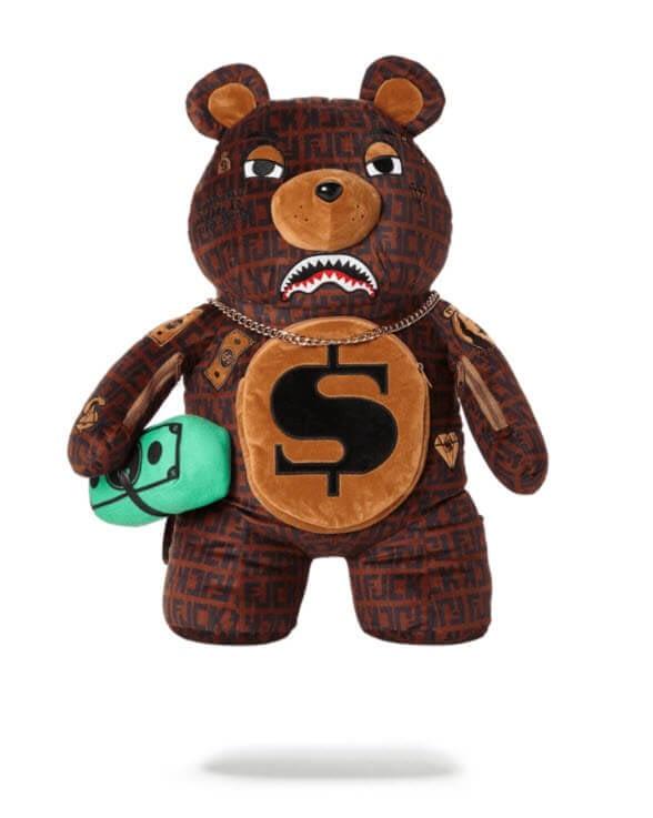 sprayground baller money gold chain bear backpack 1