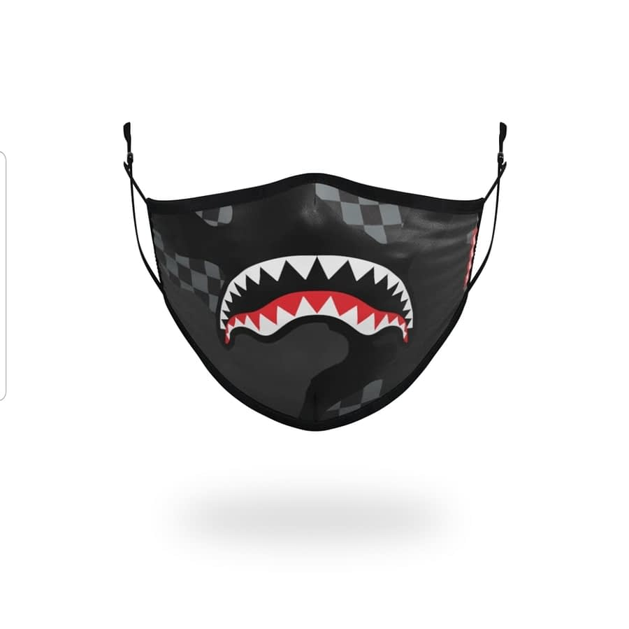 Sprayground Checkered Shark Mouth Logo Facemask 1