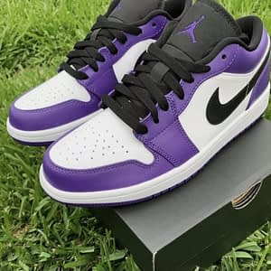 nike air jordan low purple white 1