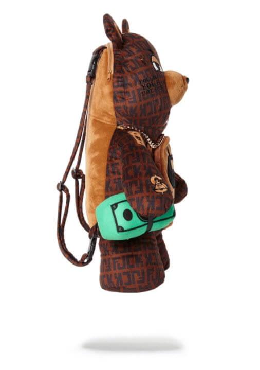 sprayground baller money gold chain bear backpack 2