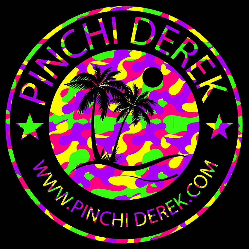colorful camo palm tree logo
